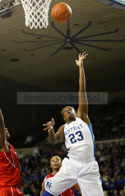 UK's Samarie Walker lays the ball in against Ole MIss at Memorial Coliseum on Thursday, Feb. 2, 2012. Photo by Scott Hannigan | Staff