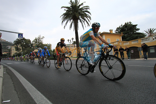 Riders including Astana's Borut Bozic (SLO)followed by Philippe Gilbert (BEL) BMC Racing Team pass through the town of Pietra Ligure during the 298Km Milan-San Remo cycle race, 17th March 2012 (Photo by Manus O'Reilly/NEWSFILE)