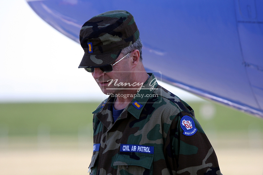 United States Civil Air Patrol Security personnel at Crites airport in Waukesha Wisconsin guarding a plane