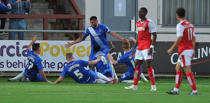 Hartlepool United's Billy Paynter celebrates scoring his team's opening goal <br /> <br /> Photographer Dave Howarth/CameraSport<br /> <br /> Football - Capital One Cup First Round - Fleetwood Town v Hartlepool United - Tuesday 11th August 2015 - Highbury Stadium - Fleetwood<br />  <br /> &copy; CameraSport - 43 Linden Ave. Countesthorpe. Leicester. England. LE8 5PG - Tel: +44 (0) 116 277 4147 - admin@camerasport.com - www.camerasport.com