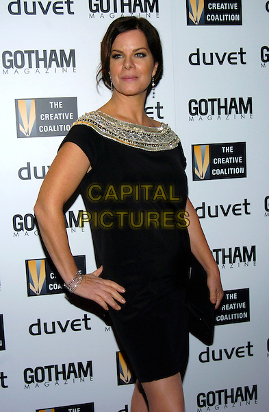 MARCIA GAY HARDEN.Creative Coalition Gala, Spotlight Awards and Christopher Reeve First Amendment Award at Duvet, New York, NY, USA,18 December 2006..half length black dress silver trimmed jewel encrusted tunic hand on hip.CAP/ADM.©Bill Lyons/Admedia/Capital Pictures *** Local Caption ***