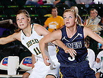 JANUARY 6, 2015 -- Taylor Trohkimoinen #11 of Black Hills State and Kahlie Peterson #3 of South Dakota Mines battle for rebounding position during their college women's basketball game Tuesday evening at the Donald E. Young Center in Spearfish, S.D.  (Photo by Dick Carlson/Inertia)