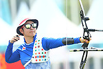 Tomomi Sugimoto (JPN), <br /> AUGUST 27, 2018 - Archery : <br /> Women's Recurve Team Bronze Medal Match<br /> at Gelora Bung Karno Archery Field <br /> during the 2018 Jakarta Palembang Asian Games <br /> in Jakarta, Indonesia. <br /> (Photo by Naoki Morita/AFLO SPORT)