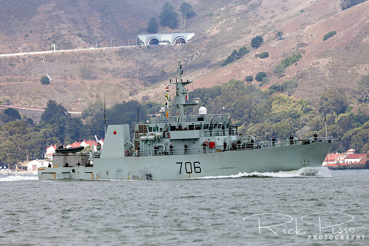 Canadian Navy Kingston class patrol Vessel HMCS Yellowknife (MM 706) enters San Francisco Bay in October 2014. The Yellowknife was commissioned 18 April 1998.