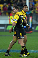 Cory Jane is subbed on for Julian Savea (left) during the Super Rugby match between the Hurricanes and Crusaders at Westpac Stadium in Wellington, New Zealand on Saturday, 15 July 2017. Photo: Dave Lintott / lintottphoto.co.nz