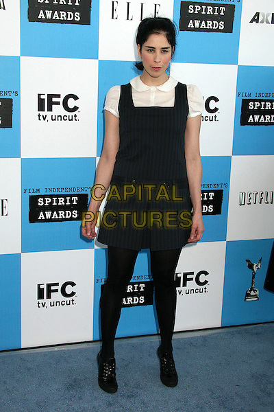 SARAH SILVERMAN.2007 Film Independent's Spirit Awards at the Santa Monica Pier, Santa Monica, California, USA,.24 February 2007..full length black pinafore dress white blouse shirt.CAP/ADM/BP.©Byron Purvis/AdMedia/Capital Pictures.