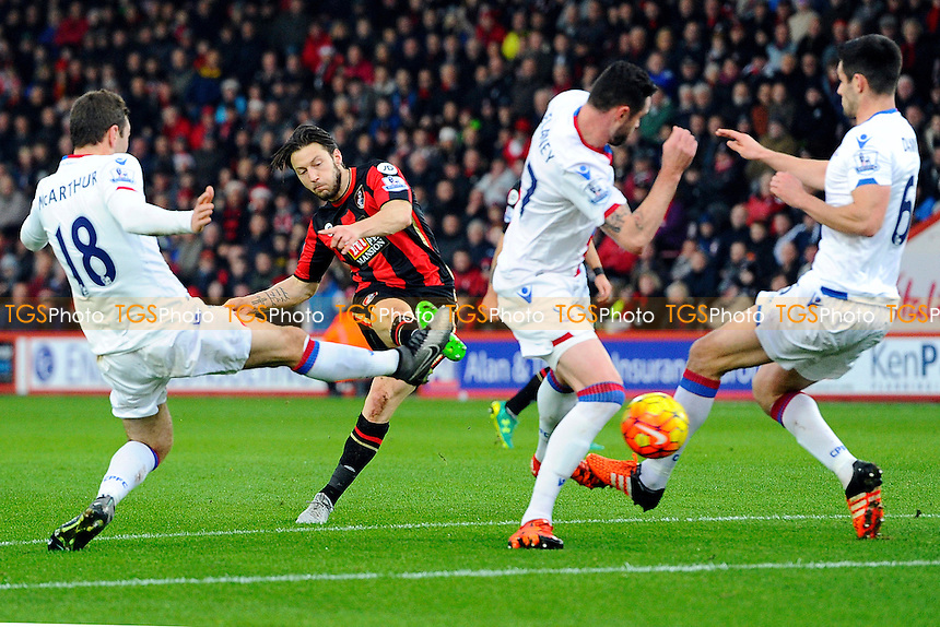 Harry Arter of AFC Bournemouth has a first half shot during AFC Bournemouth vs Crystal Palace at the Vitality Stadium