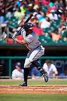 Mississippi Braves left fielder Adam Brett Walker (28) at bat during a game against the Montgomery Biscuits on April 25, 2017 at Montgomery Riverwalk Stadium in Montgomery, Alabama.  Mississippi defeated Montgomery 3-2.  (Mike Janes/Four Seam Images)