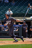 Brandt Stallings (21) of the Georgia Tech Yellow Jackets follows through on his swing against the Miami Hurricanes during game one of the 2017 ACC Baseball Championship at Louisville Slugger Field on May 23, 2017 in Louisville, Kentucky. The Hurricanes walked-off the Yellow Jackets 6-5 in 13 innings. (Brian Westerholt/Four Seam Images)
