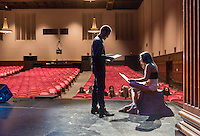 Emcees Edward Jackson '16 and Marielle Peña Rosario '16 rehearse before the show. Occidental College students perform at the annual Apollo Night talent show, hosted by the Black Student Alliance, in Thorne Hall, Friday, Feb. 21, 2014. 15 acts performed a variety of music and dance. (Photo by Marc Campos, Occidental College Photographer)