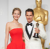 Matthew McConaughey poses with his Oscar and Jennifer Lawrence<br /> 86TH OSCARS<br /> The Annual Academy Awards at the Dolby Theatre, Hollywood, Los Angeles<br /> Mandatory Photo Credit: &copy;Dias/Newspix International<br /> <br /> **ALL FEES PAYABLE TO: &quot;NEWSPIX INTERNATIONAL&quot;**<br /> <br /> PHOTO CREDIT MANDATORY!!: NEWSPIX INTERNATIONAL(Failure to credit will incur a surcharge of 100% of reproduction fees)<br /> <br /> IMMEDIATE CONFIRMATION OF USAGE REQUIRED:<br /> Newspix International, 31 Chinnery Hill, Bishop's Stortford, ENGLAND CM23 3PS<br /> Tel:+441279 324672  ; Fax: +441279656877<br /> Mobile:  0777568 1153<br /> e-mail: info@newspixinternational.co.uk
