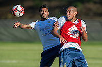 Action photo during training prior to Argentina quarter- final against Venezuela Selection.<br /> <br /> Foto de accion durante el Entrenamiento de Argentina previo a su partido de cuartos de Final contra la Seleccion de Venezuela, en la foto: Augusto Fernandez y Jonathan Maidana<br /> <br /> <br /> 17/06/2016/MEXSPORT/PHOTOGAMMA/Javier Gonzalez.