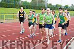 Donal Callaghan, Tim O'Connor Shona Heaslip and Tommy O'Brien leading in the 5000m at the Kerry Senior Track and Field Championships in Castleisland on sunday