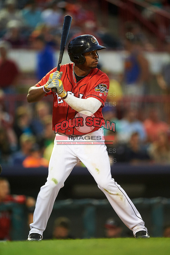 Erie SeaWolves center fielder Wynton Bernard (36) at bat during a game against the Richmond Flying Squirrels on August 22, 2016 at Jerry Uht Park in Erie, Pennsylvania.  Erie defeated Richmond 4-2.  (Mike Janes/Four Seam Images)