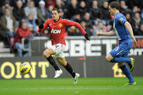 01.01.2013 Wigan, England. Javier Hernandez  of Manchester United in action during the Premier League game between Wigan Athletic and Manchester United at the DW Stadium.