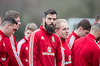 Joe Ledley during Wales national team training ahead of the International Friendly match and Euro 2016 warm up match against Northern Ireland at Vale Resort, Hensol, Wales on 22 March 2016. Photo by Mark  Hawkins / PRiME Media Images.