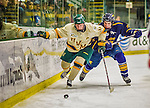 29 December 2013:  University of Vermont Catamount Forward H.T. Lenz, a Senior from Vienna, VA, hustles against Jack Hidi during second period action against the Canisius College Golden Griffins at Gutterson Fieldhouse in Burlington, Vermont. The Catamounts defeated the Golden Griffins 6-2 to capture the 2013 Sheraton/TD Bank Catamount Cup NCAA Hockey Tournament for the second straight year. Mandatory Credit: Ed Wolfstein Photo *** RAW (NEF) Image File Available ***