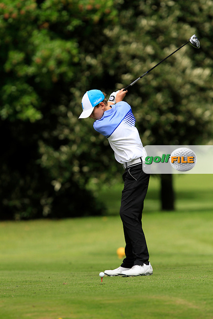 Robert Galligan (Elm Park) on the 11th tee during the Irish Boys Under 13 Amateur Open Championship in Malahide Golf Club on Monday 11th August 2014.<br /> Picture:  Thos Caffrey / www.golffile.ie