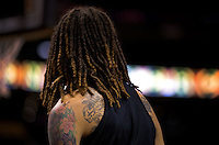 Jun. 10, 2013; Phoenix, AZ, USA: Detailed view of the tattoos and dreadlocks of Phoenix Mercury center Brittney Griner during a team practice at the US Airways Center. Mandatory Credit: Mark J. Rebilas-