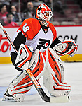 18 December 2008: Philadelphia Flyers' goaltender Scott Munroe warms up prior to facing the Montreal Canadiens at the Bell Centre in Montreal, Quebec, Canada. The Canadiens look to avoid a four-game slide, while the Flyers seek their sixth win in a row. The Canadiens defeated the Flyers 5-2. ***** Editorial Sales Only ***** Mandatory Photo Credit: Ed Wolfstein Photo