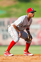 Shortstop Edgar Duran #19 of the Lakewood BlueClaws on defense against the Kannapolis Intimidators at Fieldcrest Cannon Stadium on July 17, 2011 in Kannapolis, North Carolina.  The BlueClaws defeated the Intimidators 4-3.   (Brian Westerholt / Four Seam Images)
