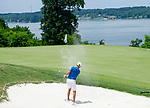 MUSCLE SHOALS, AL - MAY 25: West Florida's Chandler Blanchet makes a sand shot on the 18th green during the Division II Men's Team Match Play Golf Championship held at the Robert Trent Jones Golf Trail at the Shoals, Fighting Joe Course on May 25, 2018 in Muscle Shoals, Alabama. Lynn defeated West Florida 3-2 to win the national title. (Photo by Cliff Williams/NCAA Photos via Getty Images)