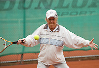 Netherlands, Amstelveen, August 18, 2015, Tennis,  National Veteran Championships, NVK, TV de Kegel,  Lady's doubles 80+ years,   Wies Schuitemaker<br /> Photo: Tennisimages/Henk Koster