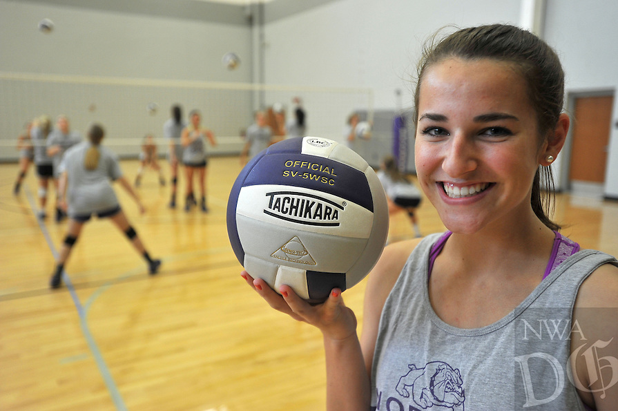 NWA Media/Michael Woods --08/20/2014-- w @NWAMICHAELW... Fayetteville Volleyball player Abbie Kathol during practice Wednesday afternoon at Fayetteville High School.