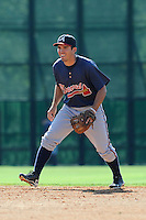 Infielder Eric Garcia (45) of the Atlanta Braves farm system in a Minor League Spring Training workout on Tuesday, March 17, 2015, at the ESPN Wide World of Sports Complex in Lake Buena Vista, Florida. (Tom Priddy/Four Seam Images)