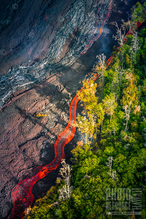 View from a helicopter of the Kilauea lava flow in Pahoa, Big Island of Hawai'i, July 2016.