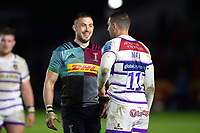 Mike Brown of Harlequins with Jonny May of Leicester Tigers after the match. Gallagher Premiership match, between Harlequins and Leicester Tigers on May 3, 2019 at the Twickenham Stoop in London, England. Photo by: Patrick Khachfe / JMP