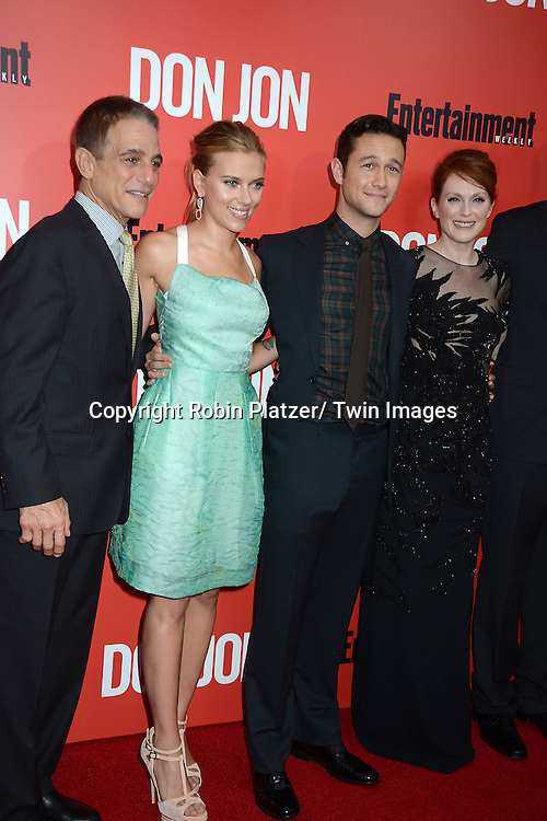 "Tony Danza, Scarlett Johansson and Joseph Gordon-Levit, Julianne Moore attends the ""Don Jon"" New York Movie Premiere on September 12, 2013 at the SVA Theatre in New York City."