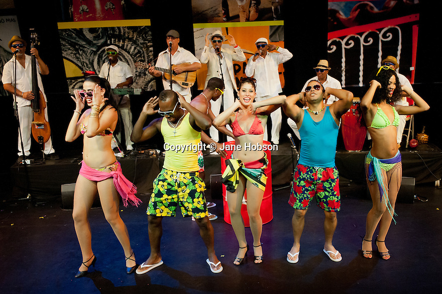 """""""Havana Rumba!"""", the Cuban Salsa, Rumba, Rum and Reggaeton show returns to the UK. Being performed in the upside down cow venue, The Udderbelly, on the Southbank, the show runs from Wednesday 20th May to Sunday 8th July 2012. Picture shows: Marilyn Acosta Lop, Freddy Clan, Wendy A;zarez, Papito Chango amd Yuyu Vega Ruiz."""