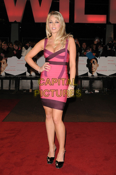 "GEMMA GARRETT .Attending the UK Film Premiere of ""Seven Pounds"" at the Empire Cinema, Leicester Square, London, England, January 14th 2009..full length pink Herve Leger bandage dress bodycon hand on hip cleavage peep toe YSL tribute shoes patent .CAP/CAS.©Bob Cass/Capital Pictures"