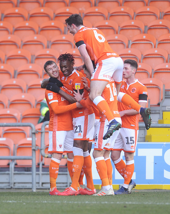 Blackpool's Chris Long (left) celebrates scoring the opening goal with team-mates<br /> <br /> Photographer Kevin Barnes/CameraSport<br /> <br /> The EFL Sky Bet League One - Blackpool v Walsall - Saturday 9th February 2019 - Bloomfield Road - Blackpool<br /> <br /> World Copyright © 2019 CameraSport. All rights reserved. 43 Linden Ave. Countesthorpe. Leicester. England. LE8 5PG - Tel: +44 (0) 116 277 4147 - admin@camerasport.com - www.camerasport.com