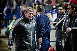 Bolton Wanderers 3 Liverpool 1, 21/01/2012. Reebok Stadium, Premier League. Opposing managers Kenny Dalglish and Owen Coyle greet each other at the Reebok Stadium, before Bolton Wanderers take on Liverpool in a Barclays Premier League game. The match was won by Bolton by 3 goals to 1, watched by a near-capacity crowd of 26,854. The win lifted Bolton out of the relegation places in England's top division, while Liverpool remained seventh. Photo by Colin McPherson.