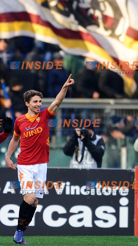 """Fabio Borini esultanza dopo il gol 3-0.Roma 5/2/2012 Stadio """"Olimpico"""".Football Calcio 2011/2012 Serie A.Roma Vs Inter.Foto Insidefoto Andrea Staccioli"""