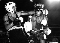 Roma  Luglio 1997.Incontro  di boxe dilettanti alla Festa di Liberazione.Feuda vs Barone.