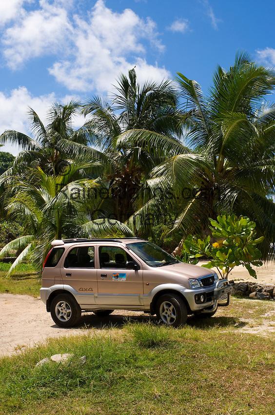 Seychelles, Island Mahe, Anse l'Islette: Jeep, rented car, beach, palm trees