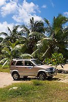 Seychelles, Island Mahe, Anse l'Islette: Jeep, rented car, beach, palm trees
