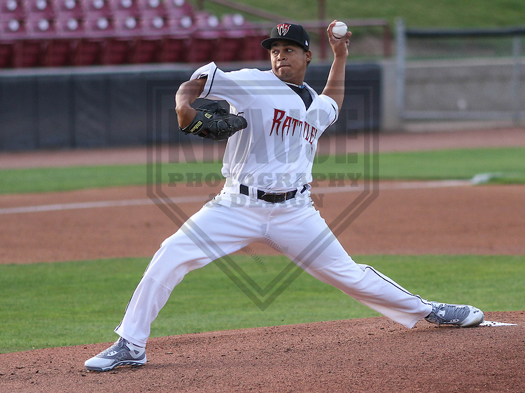 Wisconsin Timber Rattlers pitcher Luis Ortega (37) during a game against the Cedar Rapids Kernels on May 4th, 2015 at Fox Cities Stadium in Appleton, Wisconsin.  Cedar Rapids defeated Wisconsin 9-3.  (Brad Krause/Krause Sports Photography)
