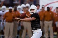 01 APRIL 2006: University of Texas freshman quarterback hopeful, Jevan Snead, throws the ball at Darrell K. Royal Memorial Stadium during the Longhorns annual spring Orange vs White Scrimmage.