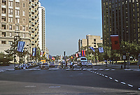 Philadelphia: Benjamin Franklin Parkway--looking towards Museum of Art from JFK & 16th through Logan Circle. Photo '91.