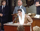 Washington, D.C. - (FILE) -- Prime Minister Benazir Bhutto of Pakistan addresses a joint session of the United States Congress in Washington, D.C. on Wednesday, June 7, 1989.  Bhutto was assassinated in Rawalpindi, Pakistan on Thursday, December 27, 2007 after appearing at a campaign rally there. .Credit: Howard L. Sachs / CNP