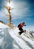 USA, Colorado, Aspen, woman telemark skiing, Aspen Highlands
