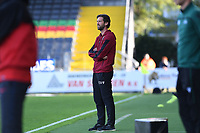 20191022 – OOSTENDE , BELGIUM : Brugge's head coach Rik De Mil pictured during a soccer game between Club Brugge KV and Paris Saint-Germain ( PSG )  on the third matchday of the UEFA Youth League – Champions League season 2019-2020 , thuesday  22 th October 2019 at the Versluys Arena in Oostende  , Belgium  .  PHOTO SPORTPIX.BE | DAVID CATRY
