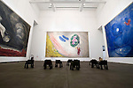 """Photo shows the Aleko Hall, which features works by Marc Chagall painted for the ballet """"Aelko"""" at the Aomori Museum of Art in Aomori City, Aomori Prefecture, Japan on 11 July, 2001. The building was designed by Jun Aoki, the inspiration coming from the nearby Sannai Maruyama archeological site. .Photographer: Robert Gilhooly"""