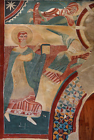 Detail of wall painting (20th century copy) of Saints illustrating the celestial universe, Lombard Romanesque style Church of Sant Joan de Boi, 11th century, Catalonia, Spain. The murals are now preserved at the National Museum of Catalan Art (MNAC) in Barcelona. Picture by Manuel Cohen