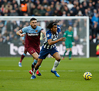 1st February 2020; London Stadium, London, England; English Premier League Football, West Ham United versus Brighton and Hove Albion; Bernardo of Brighton and Hove Albion gets to the ball ahead of Robert Snodgrass of West Ham United