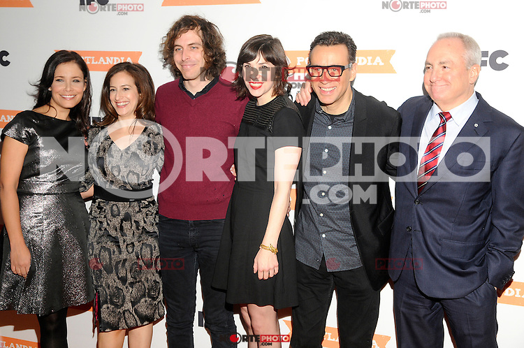 """NEW YORK, NY - DECEMBER 10: Cecily Strong, Jonathan Krisel, Carrie Brownstein, Fred Armisen and Lorne Michaels attend the """"Portlandia"""" Season 3 premiere screening held at the Museum of Natural History in New York, on Dec. 10, 2012 in New York City. © Raymond Hagans/Retna Ltd. / Mediapunchinc /NortePhoto© /NortePhoto /NortePhoto"""